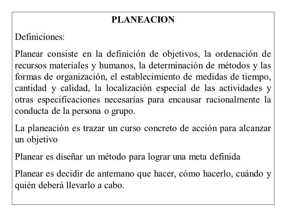 PLANEACION Definiciones: