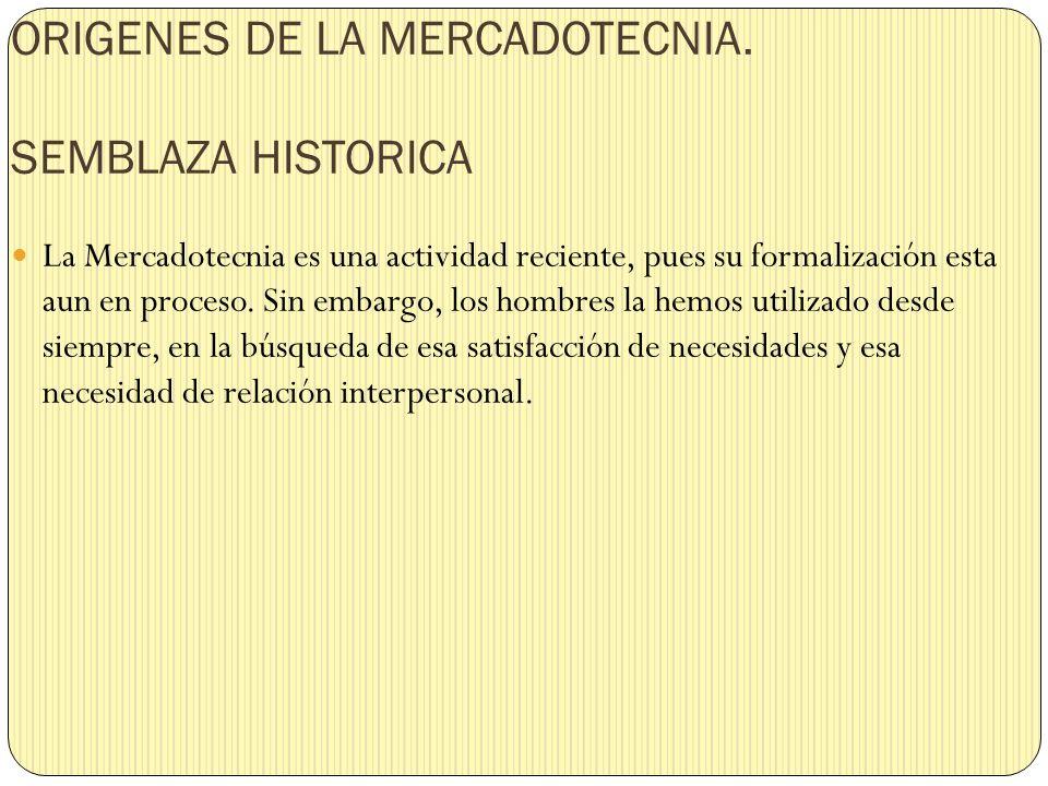 ORIGENES DE LA MERCADOTECNIA. SEMBLAZA HISTORICA