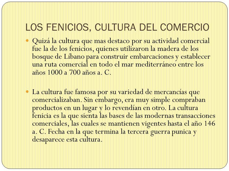 LOS FENICIOS, CULTURA DEL COMERCIO