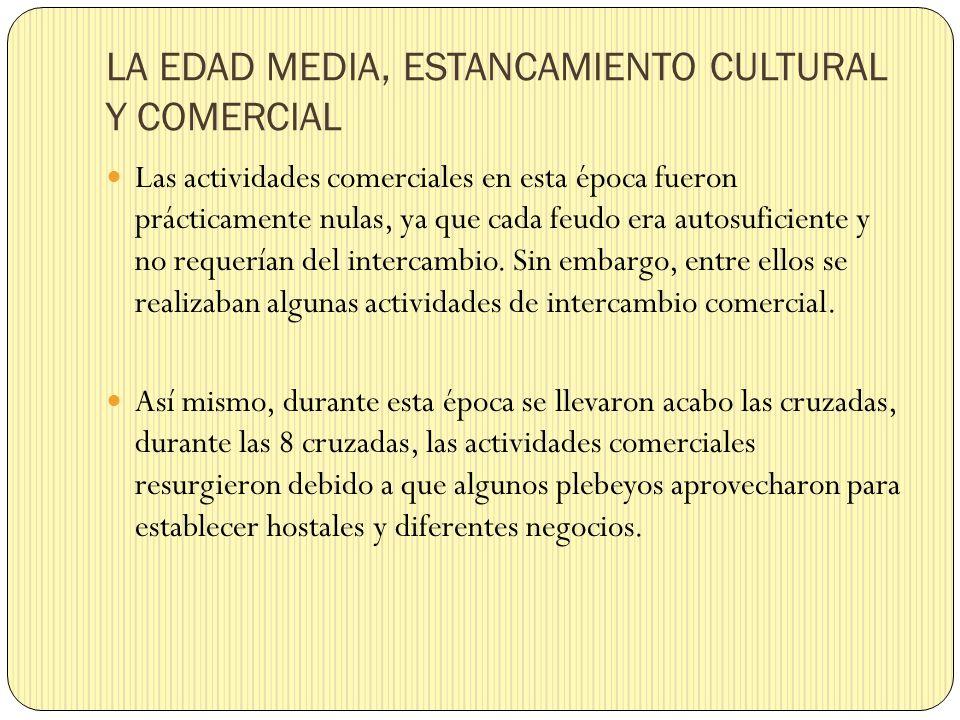 LA EDAD MEDIA, ESTANCAMIENTO CULTURAL Y COMERCIAL