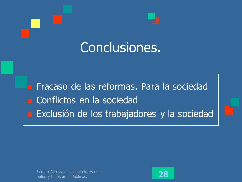 Conclusiones. Fracaso de las reformas. Para la sociedad