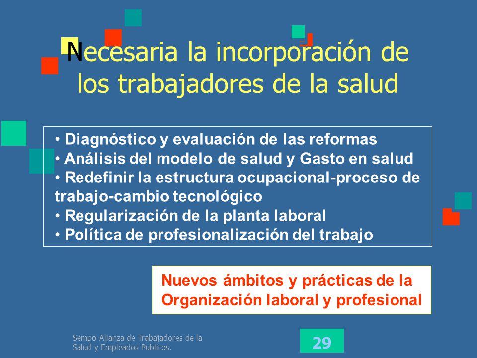 Necesaria la incorporación de los trabajadores de la salud
