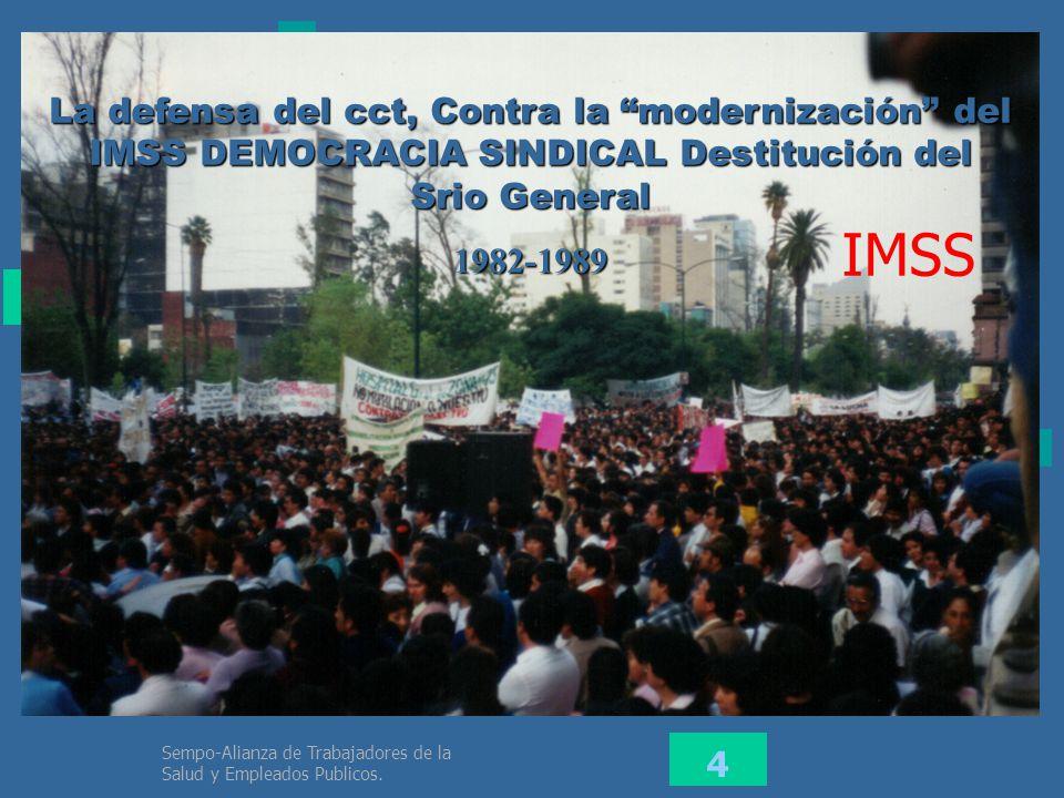 La defensa del cct, Contra la modernización del IMSS DEMOCRACIA SINDICAL Destitución del Srio General