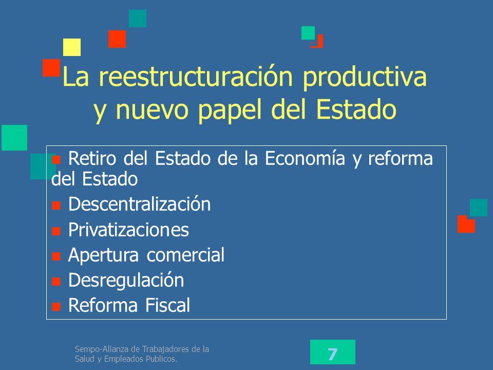 La reestructuración productiva y nuevo papel del Estado