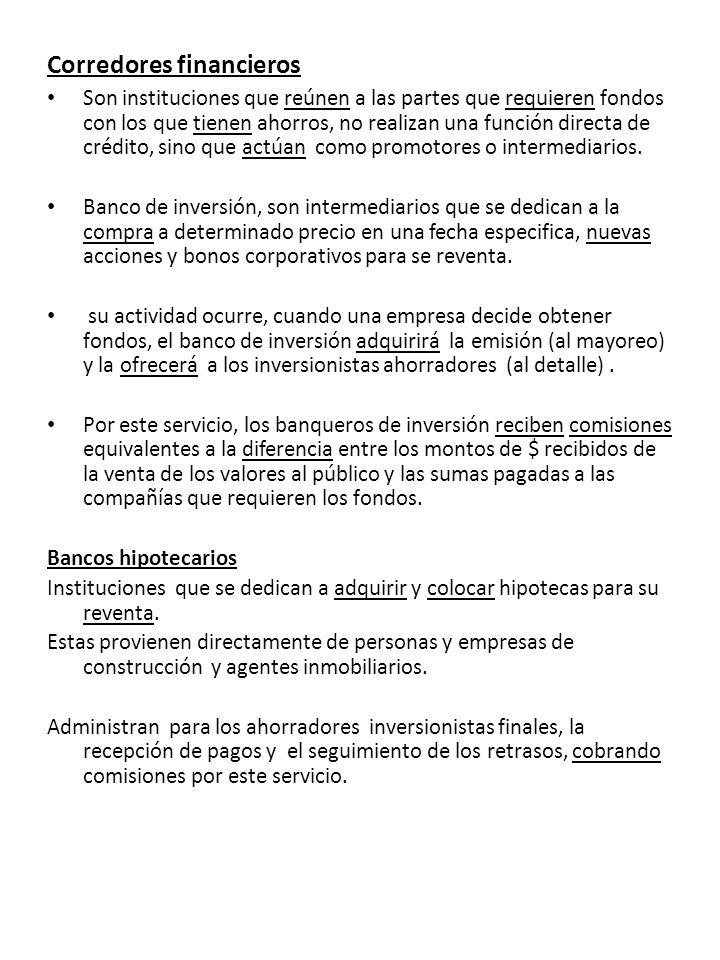 Corredores financieros