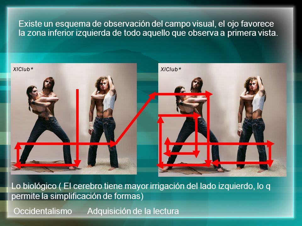 Existe un esquema de observación del campo visual, el ojo favorece la zona inferior izquierda de todo aquello que observa a primera vista.
