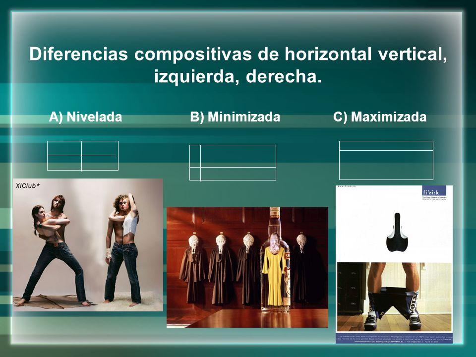 Diferencias compositivas de horizontal vertical, izquierda, derecha.