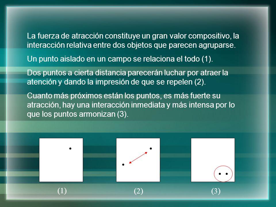 La fuerza de atracción constituye un gran valor compositivo, la interacción relativa entre dos objetos que parecen agruparse.
