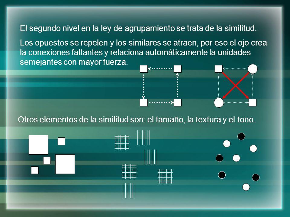 El segundo nivel en la ley de agrupamiento se trata de la similitud.