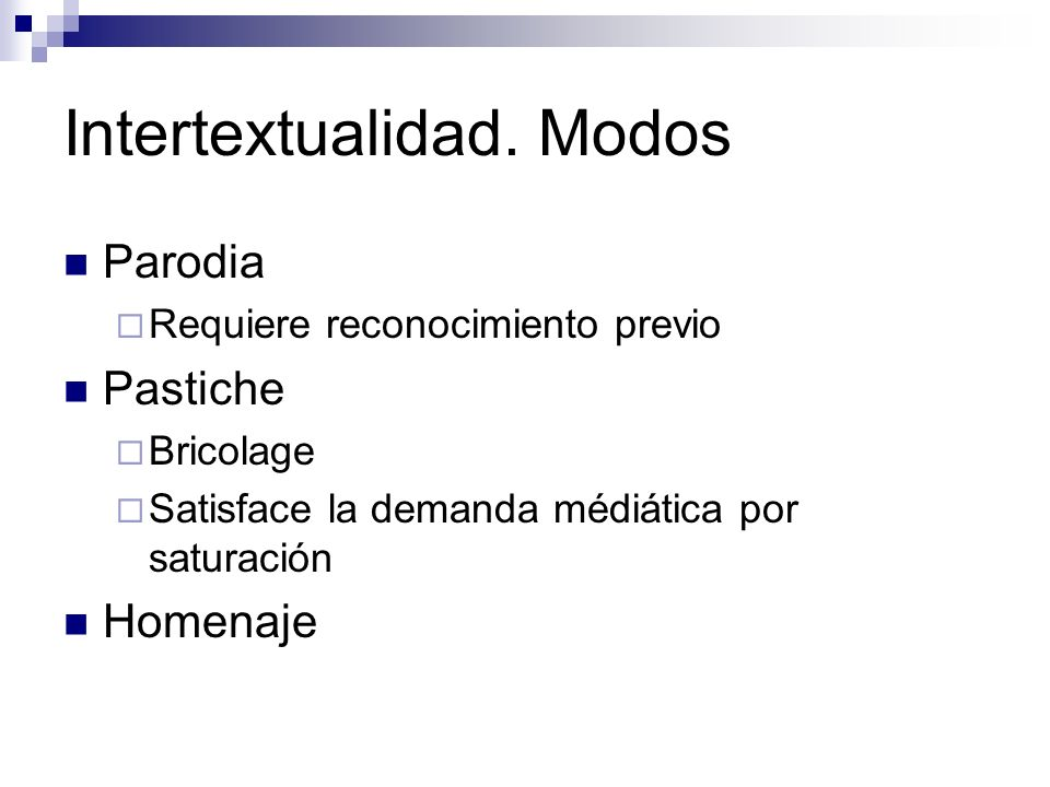 Intertextualidad. Modos