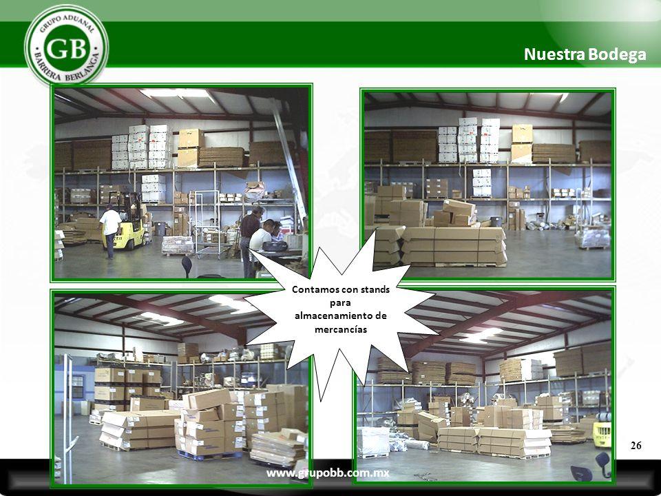 Contamos con stands para almacenamiento de mercancías