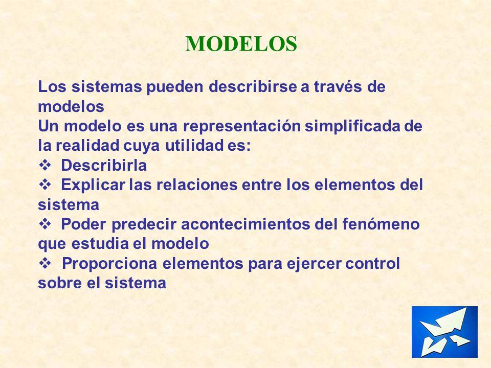 MODELOS Los sistemas pueden describirse a través de modelos