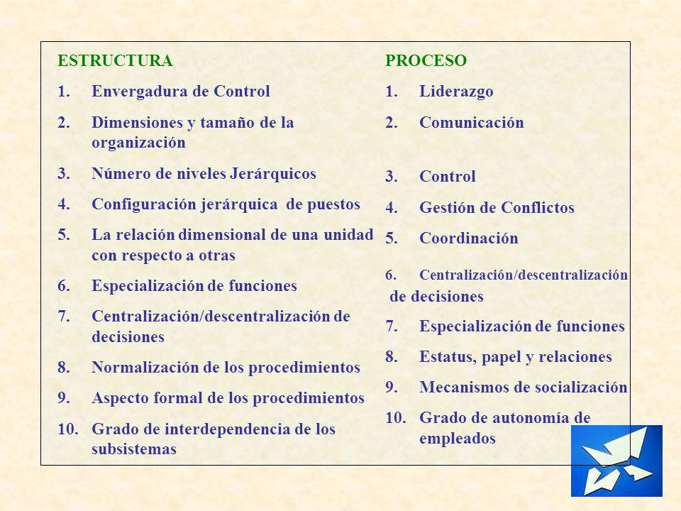 Envergadura de Control Dimensiones y tamaño de la organización