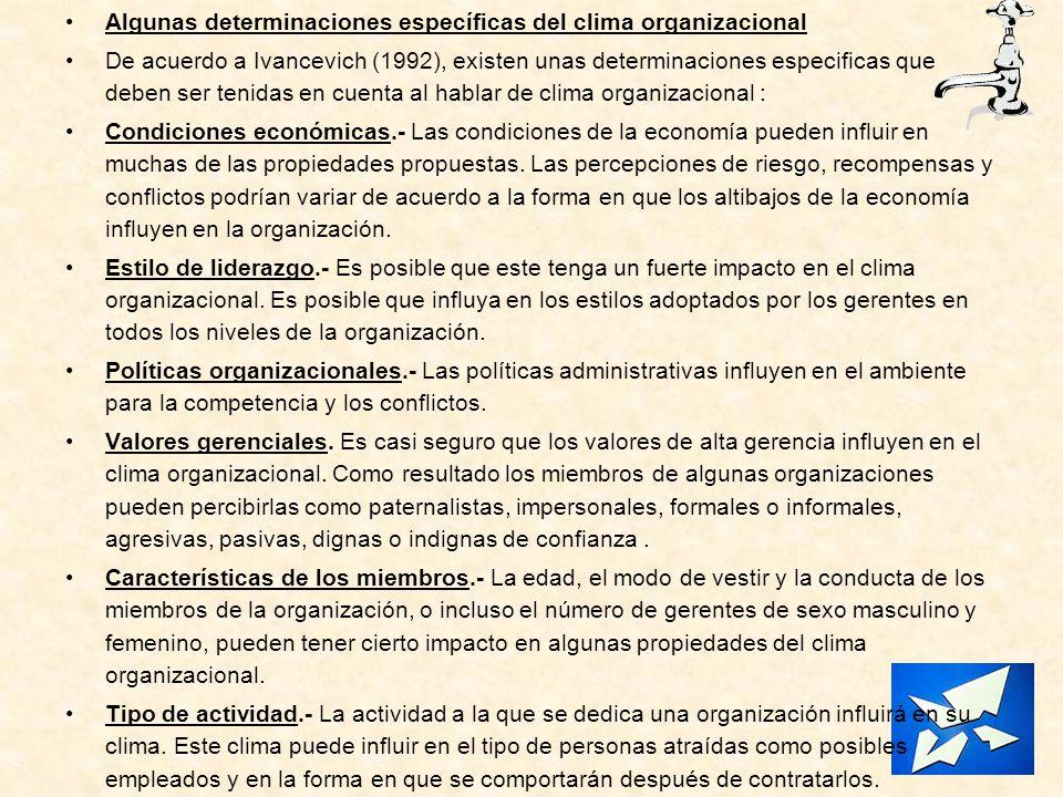 Algunas determinaciones específicas del clima organizacional