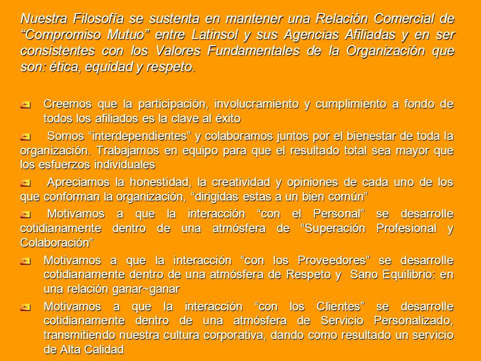 Nuestra Filosofía se sustenta en mantener una Relación Comercial de Compromiso Mutuo entre Latinsol y sus Agencias Afiliadas y en ser consistentes con los Valores Fundamentales de la Organización que son: ética, equidad y respeto.