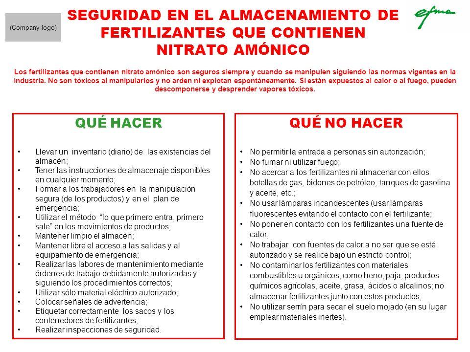 SEGURIDAD EN EL ALMACENAMIENTO DE FERTILIZANTES QUE CONTIENEN NITRATO AMÓNICO