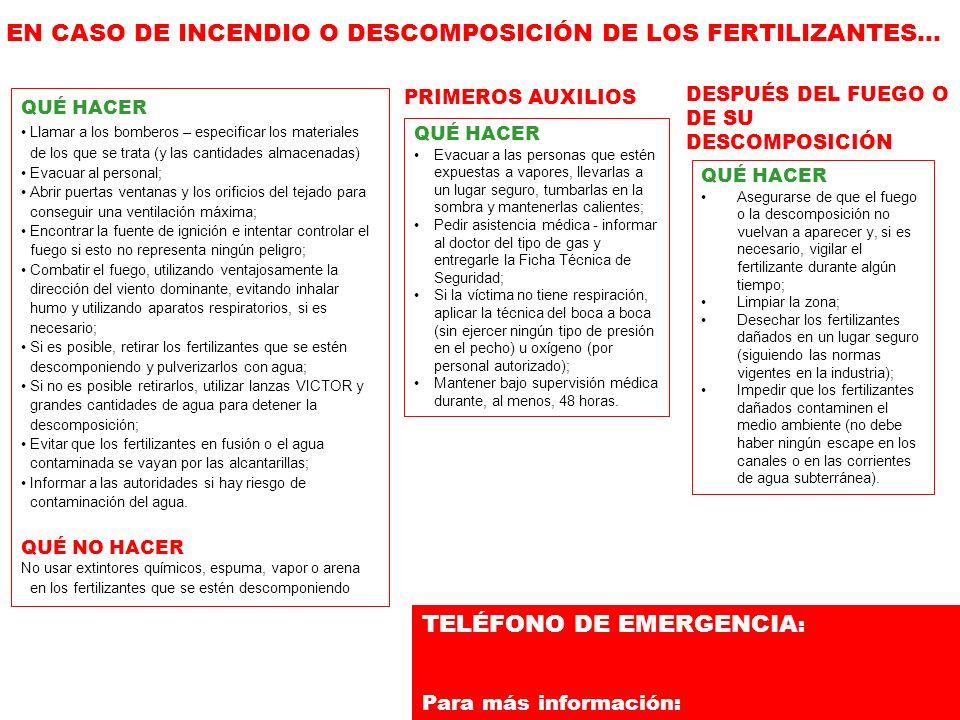 TELÉFONO DE EMERGENCIA: Para más información:
