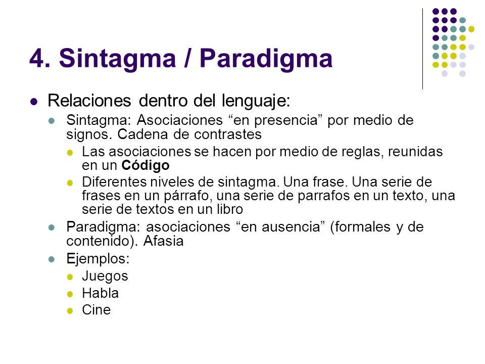4. Sintagma / Paradigma Relaciones dentro del lenguaje: