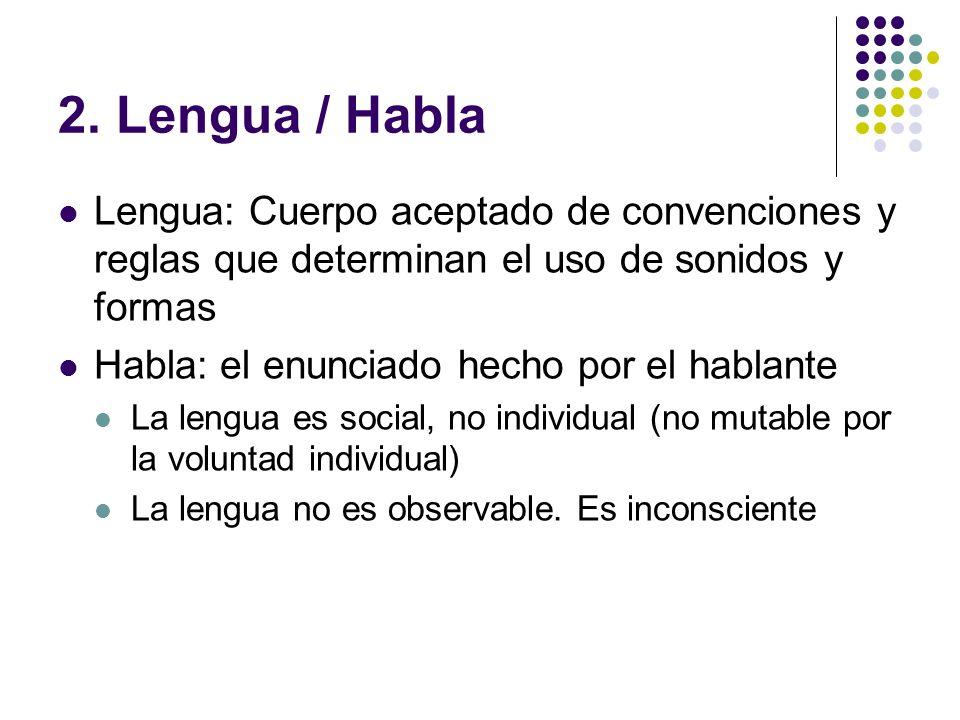 2. Lengua / Habla Lengua: Cuerpo aceptado de convenciones y reglas que determinan el uso de sonidos y formas.