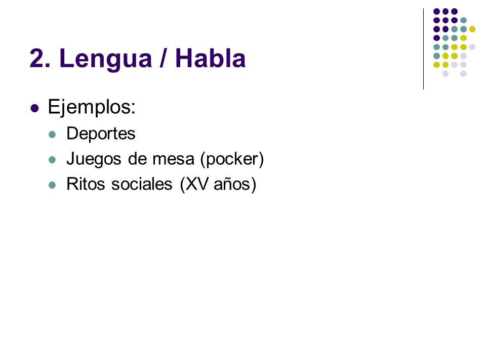 2. Lengua / Habla Ejemplos: Deportes Juegos de mesa (pocker)