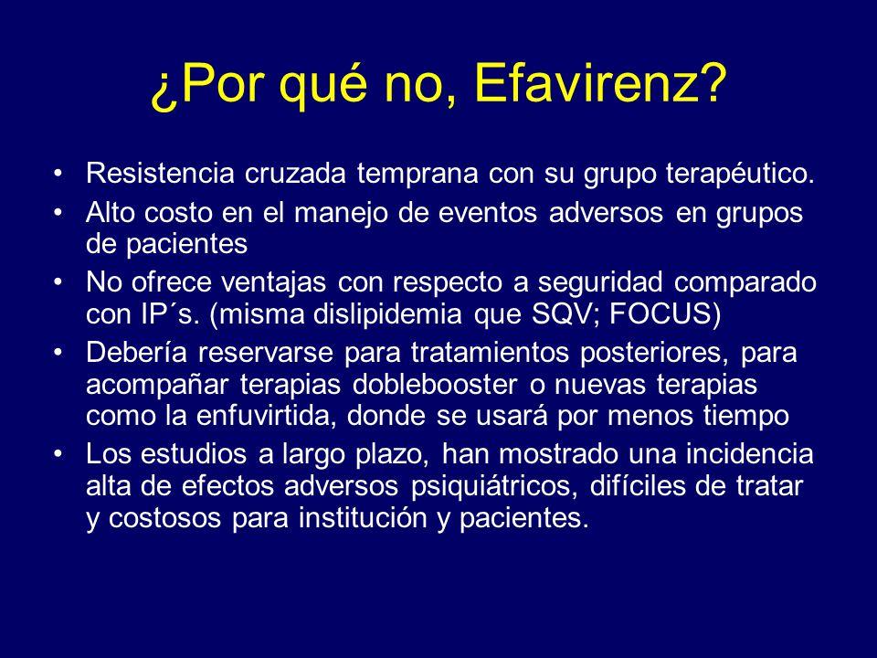 ¿Por qué no, Efavirenz Resistencia cruzada temprana con su grupo terapéutico. Alto costo en el manejo de eventos adversos en grupos de pacientes.