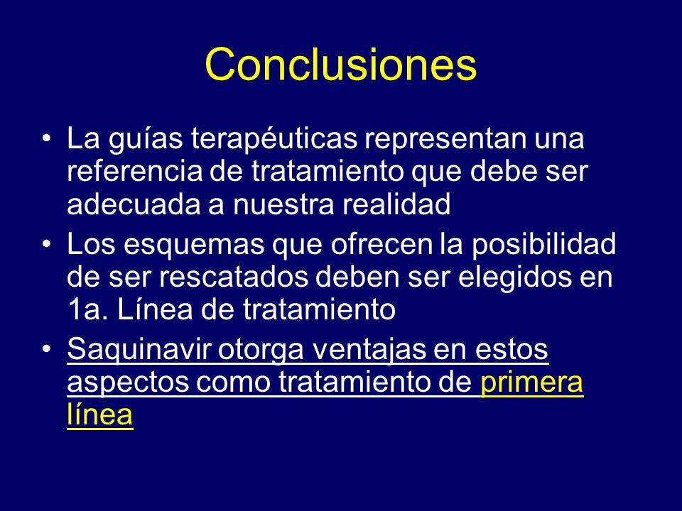 Conclusiones La guías terapéuticas representan una referencia de tratamiento que debe ser adecuada a nuestra realidad.