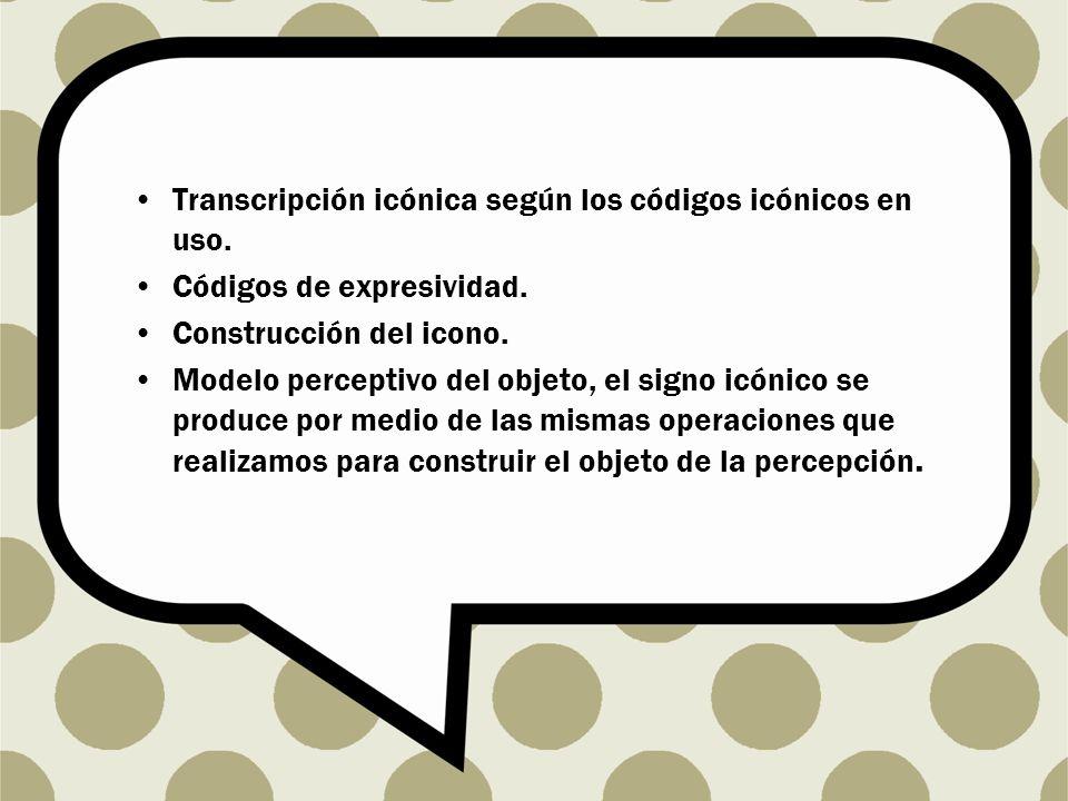 Transcripción icónica según los códigos icónicos en uso.