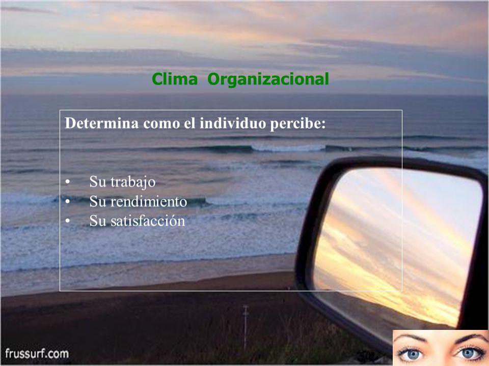 Clima Organizacional Determina como el individuo percibe: Su trabajo.