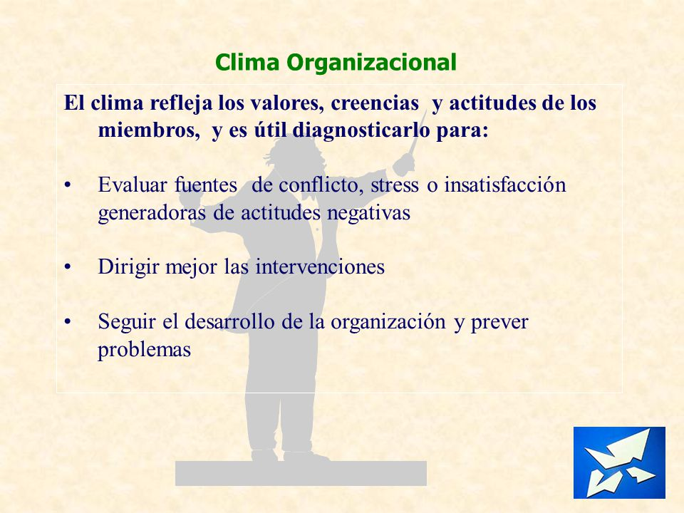 Clima Organizacional El clima refleja los valores, creencias y actitudes de los miembros, y es útil diagnosticarlo para: