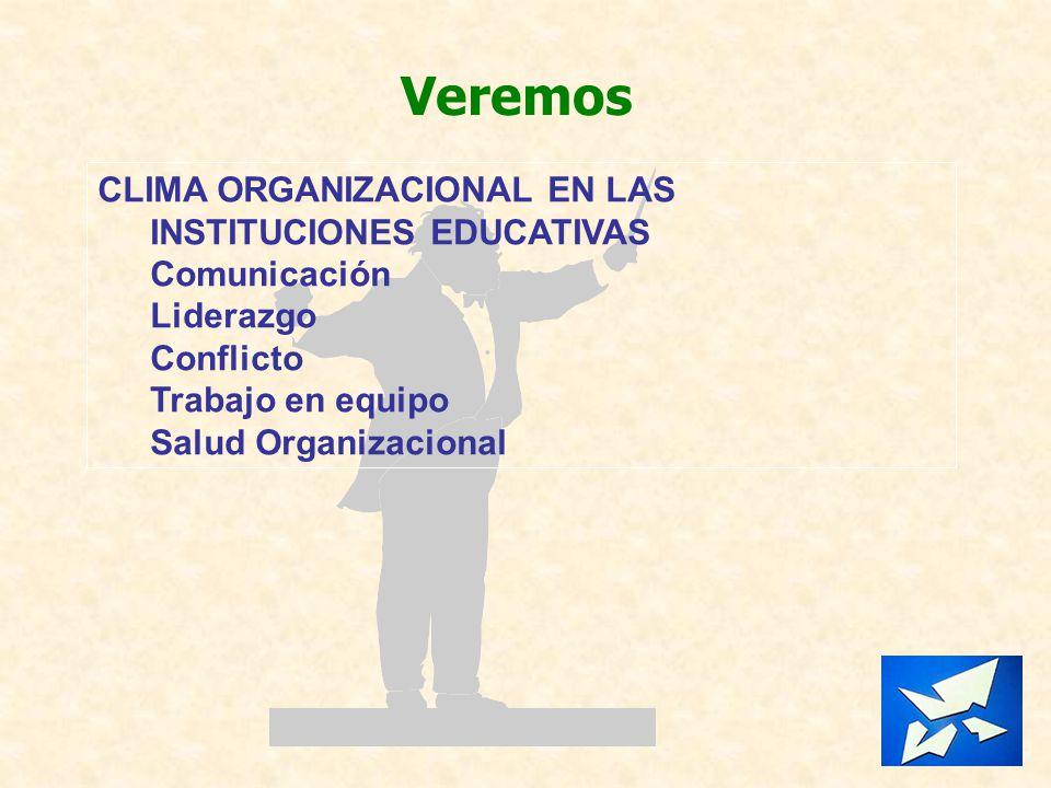 Veremos CLIMA ORGANIZACIONAL EN LAS INSTITUCIONES EDUCATIVAS