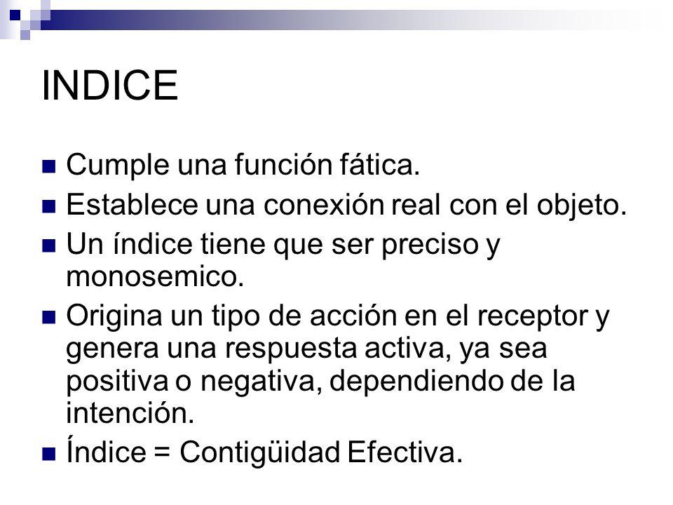 INDICE Cumple una función fática.