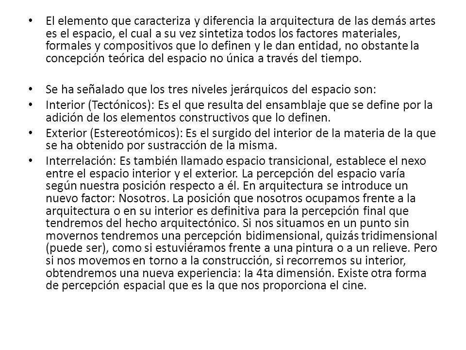 El elemento que caracteriza y diferencia la arquitectura de las demás artes es el espacio, el cual a su vez sintetiza todos los factores materiales, formales y compositivos que lo definen y le dan entidad, no obstante la concepción teórica del espacio no única a través del tiempo.