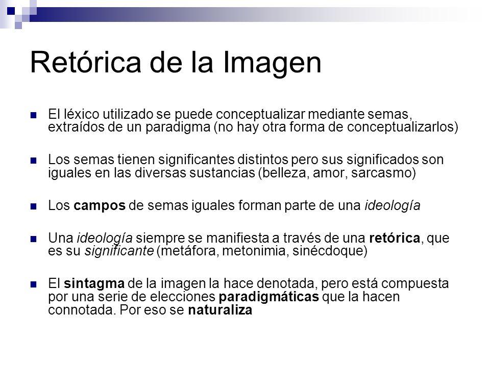 Retórica de la Imagen El léxico utilizado se puede conceptualizar mediante semas, extraídos de un paradigma (no hay otra forma de conceptualizarlos)