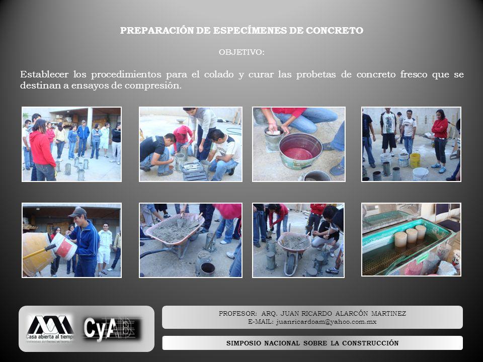 PREPARACIÓN DE ESPECÍMENES DE CONCRETO