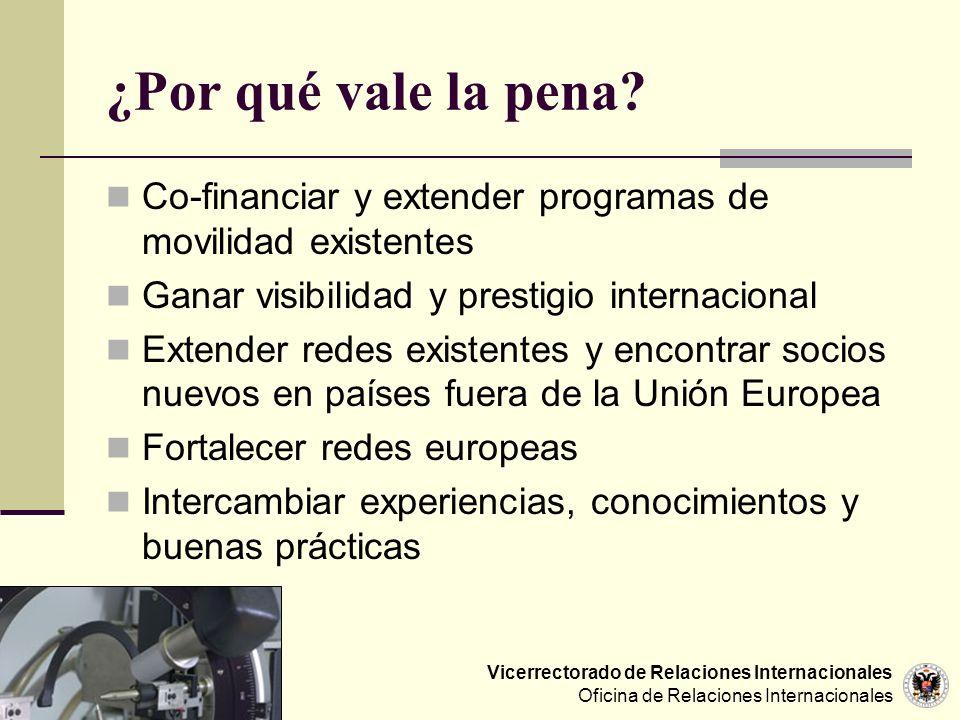 ¿Por qué vale la pena Co-financiar y extender programas de movilidad existentes. Ganar visibilidad y prestigio internacional.