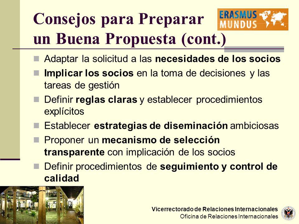 Consejos para Preparar un Buena Propuesta (cont.)