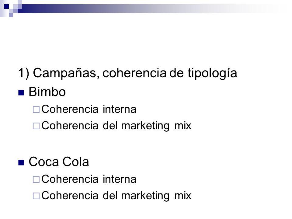 1) Campañas, coherencia de tipología Bimbo