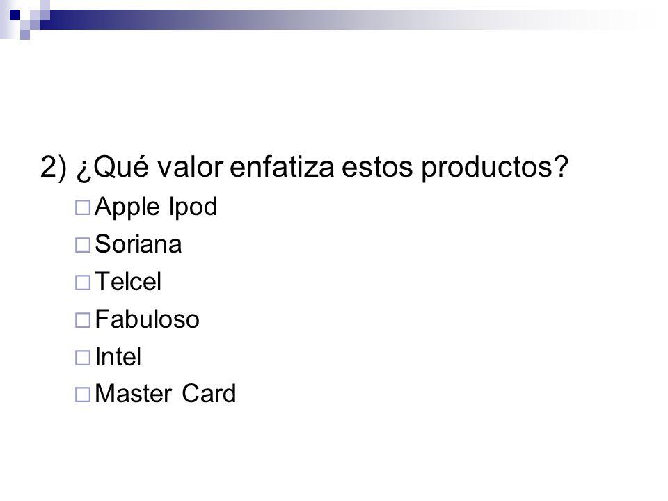 2) ¿Qué valor enfatiza estos productos
