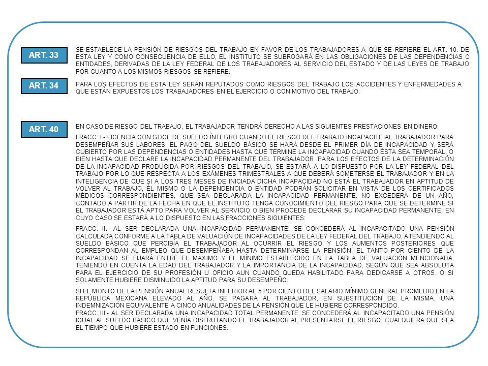 SE ESTABLECE LA PENSIÓN DE RIESGOS DEL TRABAJO EN FAVOR DE LOS TRABAJADORES A QUE SE REFIERE EL ART. 10. DE ESTA LEY Y COMO CONSECUENCIA DE ELLO, EL INSTITUTO SE SUBROGARÁ EN LAS OBLIGACIONES DE LAS DEPENDENCIAS O ENTIDADES, DERIVADAS DE LA LEY FEDERAL DE LOS TRABAJADORES AL SERVICIO DEL ESTADO Y DE LAS LEYES DE TRABAJO POR CUANTO A LOS MISMOS RIESGOS SE REFIERE.