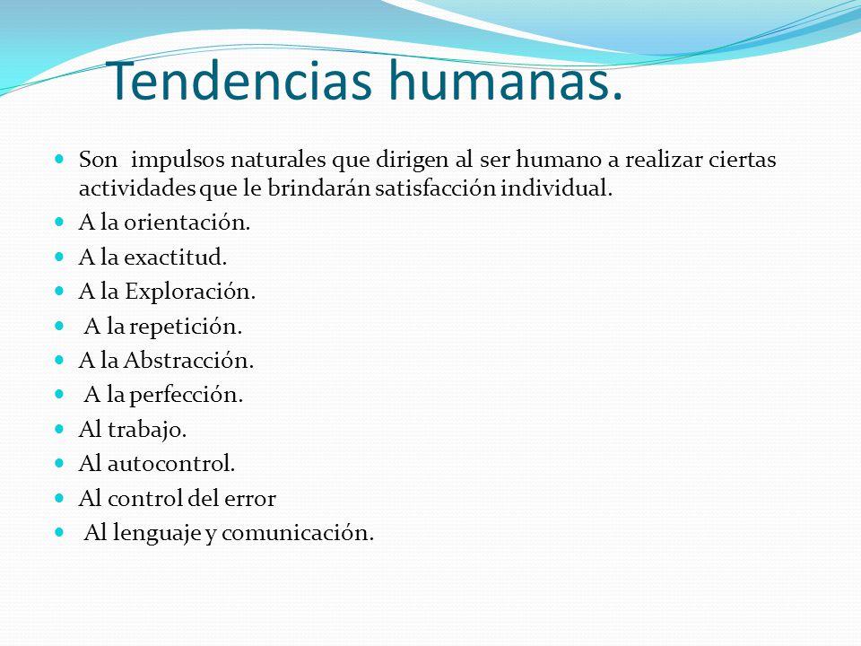 Tendencias humanas. Son impulsos naturales que dirigen al ser humano a realizar ciertas actividades que le brindarán satisfacción individual.