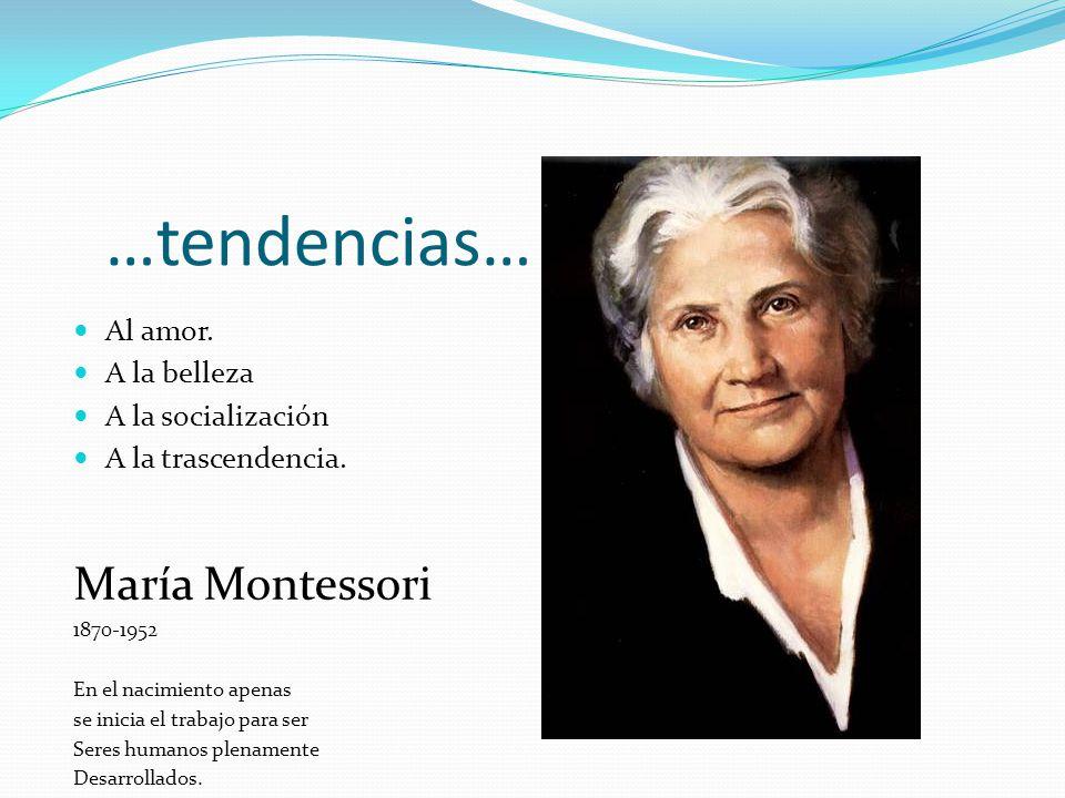 …tendencias… María Montessori Al amor. A la belleza A la socialización