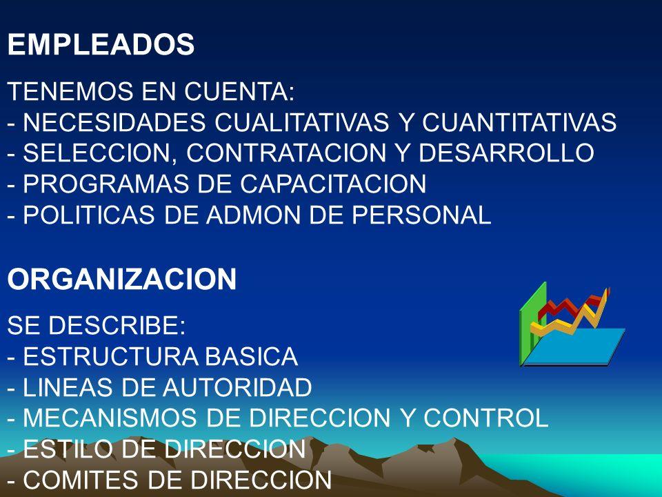 EMPLEADOS ORGANIZACION TENEMOS EN CUENTA: