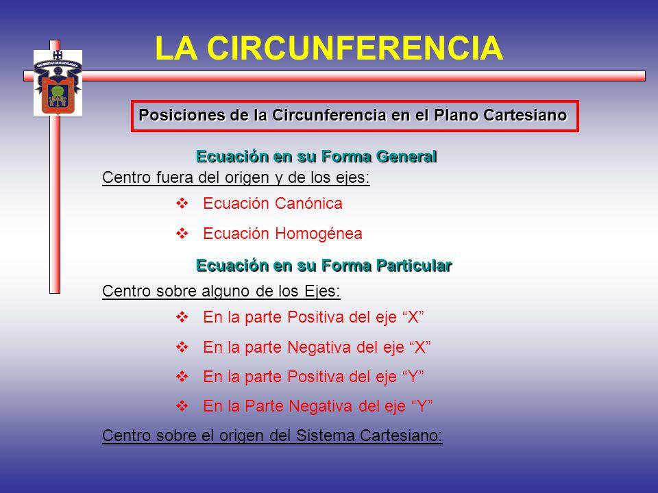 LA CIRCUNFERENCIA Posiciones de la Circunferencia en el Plano Cartesiano. Ecuación en su Forma General.