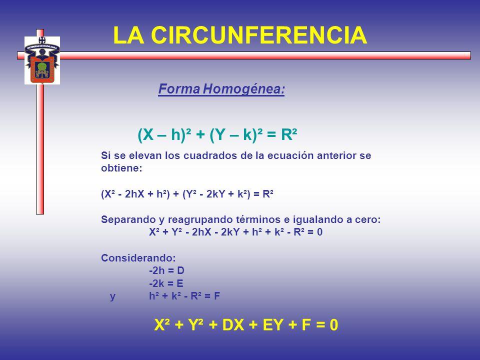 LA CIRCUNFERENCIA X² + Y² + DX + EY + F = 0 Forma Homogénea: