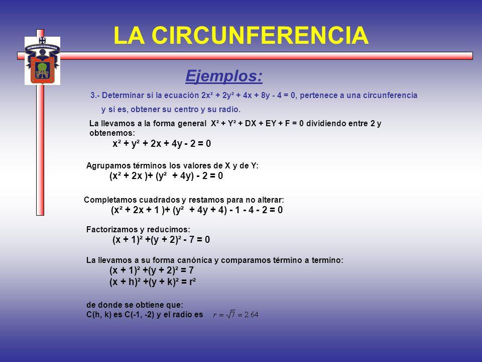 LA CIRCUNFERENCIA Ejemplos: x² + y² + 2x + 4y - 2 = 0