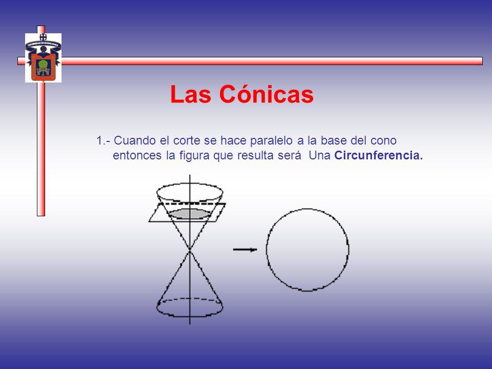 Las Cónicas 1.- Cuando el corte se hace paralelo a la base del cono