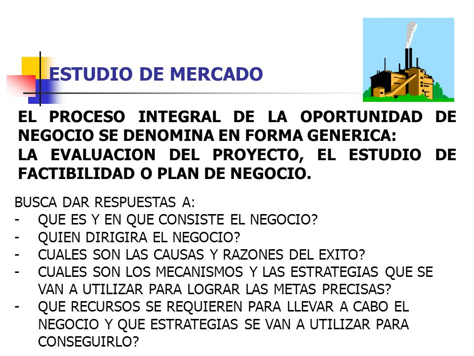 ESTUDIO DE MERCADO EL PROCESO INTEGRAL DE LA OPORTUNIDAD DE NEGOCIO SE DENOMINA EN FORMA GENERICA: