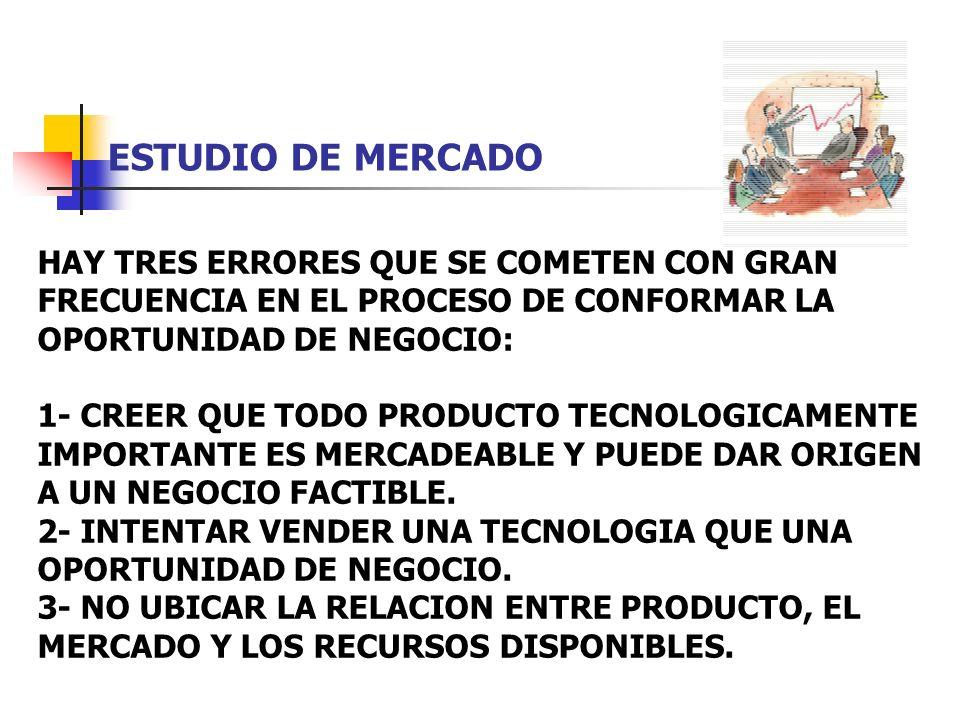 ESTUDIO DE MERCADO HAY TRES ERRORES QUE SE COMETEN CON GRAN FRECUENCIA EN EL PROCESO DE CONFORMAR LA OPORTUNIDAD DE NEGOCIO: