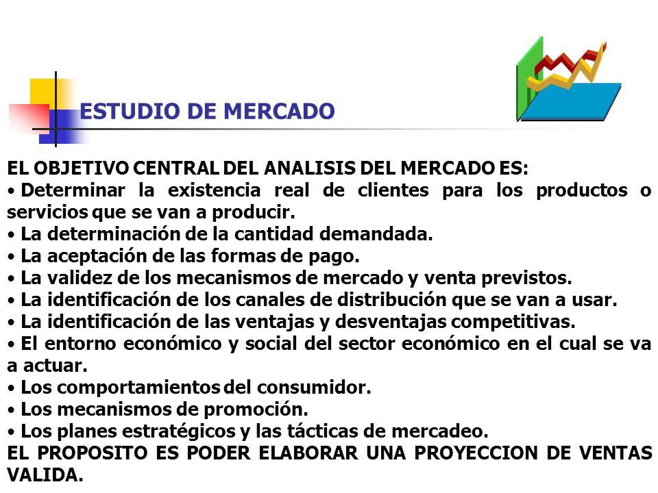 ESTUDIO DE MERCADO EL OBJETIVO CENTRAL DEL ANALISIS DEL MERCADO ES: