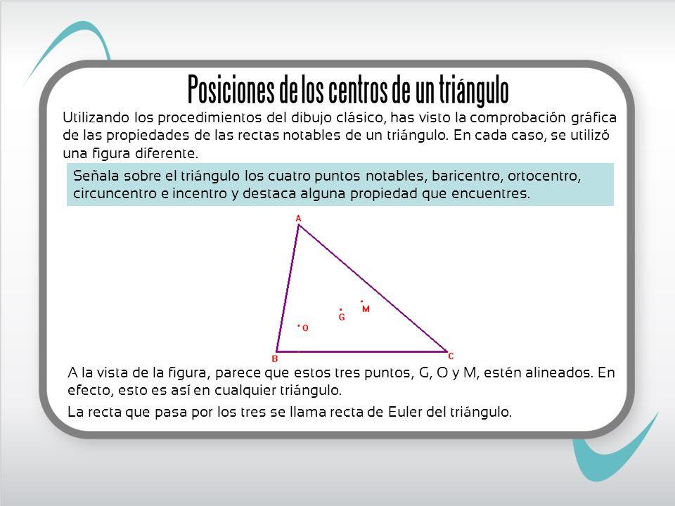Posiciones de los centros de un triángulo